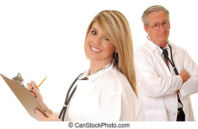 Senior Doctor and Lady Doctor - Senior doctor physician...