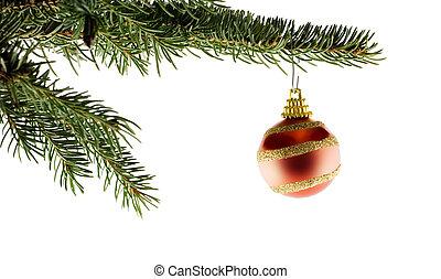 樅樹, 球, 樹, 聖誕節, 紅色