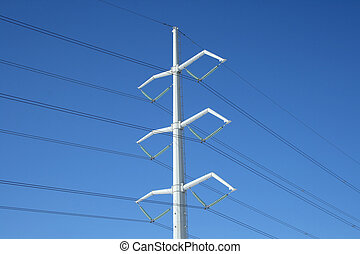 White electricity pylon and power lines