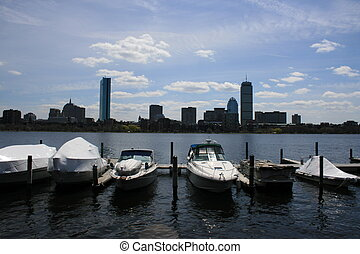 Charles - Boats docked along Bostons Charles River