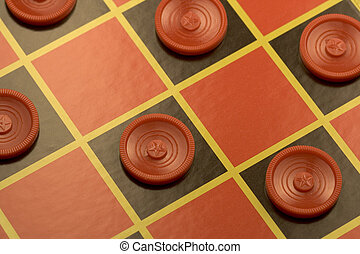 Checkerboard ready for a game - checkerboard with many...