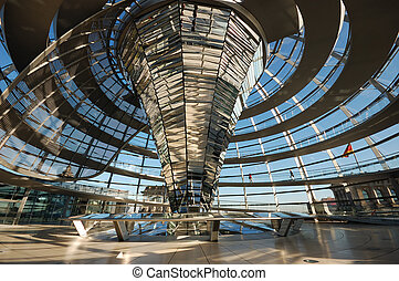 Inside of the Cupola of the Reichstag Building in Berlin,...