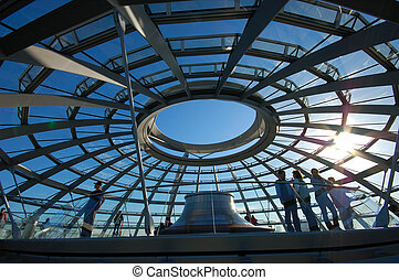 Inside of the Cupola on the top of Reichstag Building in...