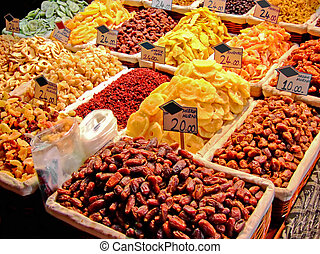 Dry fruits piles - Dry fruits store on Istanbul spice market