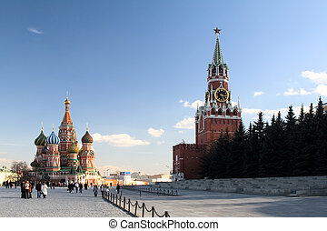 View of St Basil the Blessed Cathedral and Kremlins...