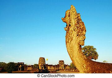 Naga head at Angkor Wat - The image of naga head at Angkor...