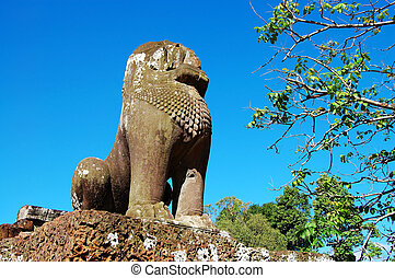 Guardian lion over blue sky - A guardian lion with blue sky,...