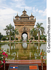 Laos monument - Patuxai monument in Vientiane, capital of...