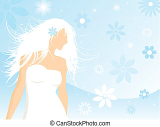 Woman in white - Beautiful female on a floral background
