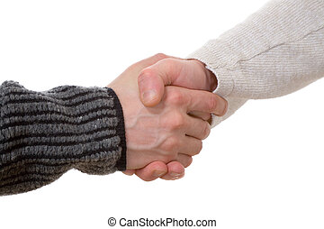 handshake - the handshake of two mens hands on white...