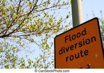 Flood Diversion Route Sign