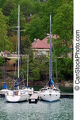 Sailboats photographed docked at local lake marina in...