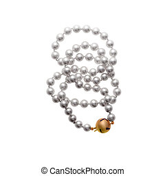 Pearls bead - Shinny pearls bead over a white background