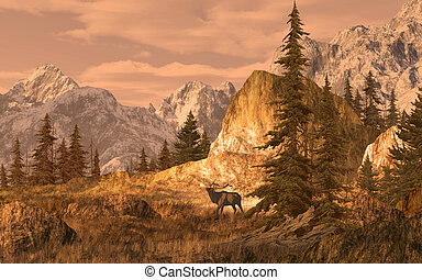 Elk in the Rockies - Image from an original 15x24...