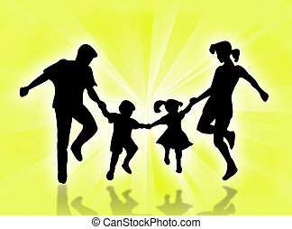 Happy family - Illustration about a family in the sunrays