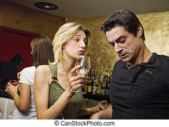 bar - girls night out: horny guy looking at a nice girl...
