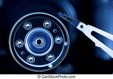 Computer hard Disk Drive - Open hard disk drive, in blue...