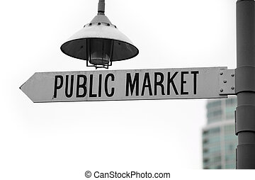 public market sign close up
