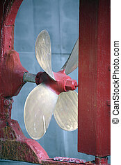 screw propeller in a dry dock