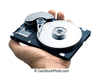 Computer hard Disk Drive - Hand with a open hard disk drive