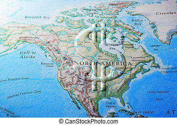 north american economy - Dollar sign across North America...