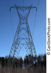 Huge electricity pylon in the forest