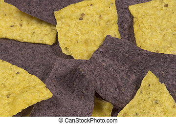purple and yellow corn chips are yummy