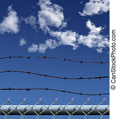 ChainLink Barbed Wire Illustration - Illustration (NOT A...