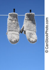 Mittens hanging to dry – the winter is over