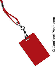 Blank red ID card / badge with copy space, isolated on...