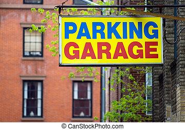 Parking Garage - Parking garage sign in Brooklyn borough,...