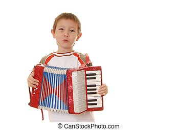 Accordion Boy 27 - Isolated young boy playing a diatonic...