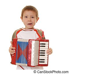 Accordion Boy 29 - Isolated young boy playing a diatonic...