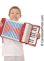 Accordion Boy 30 - Isolated young boy playing a diatonic...