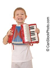 Accordion Boy 32 - Isolated young boy playing a diatonic...