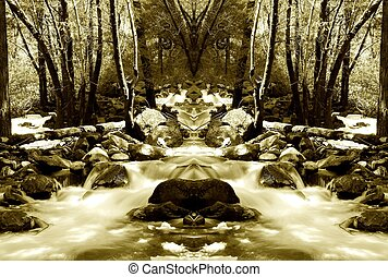 Smooth Brook 2 - Old style sepia toned smooth flowing brook