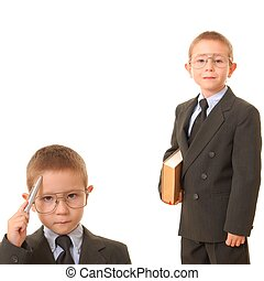 decisions 2 - Thoughtful boy businessman thinking about his...