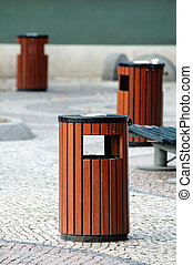 Litter bins - Three wooden litter bins in public area