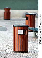Litter bins - Three wooden litter bins in public area