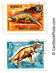Dinosaurs on old postage stamps - Collectible stamps from...