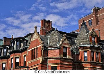 newbury apartment building - detail of elaborate apartment...