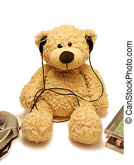 teddy-bear listens music - the teddy bear listening music by...