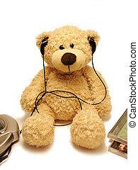 teddy-bear listens music - the teddy bear listening music by...