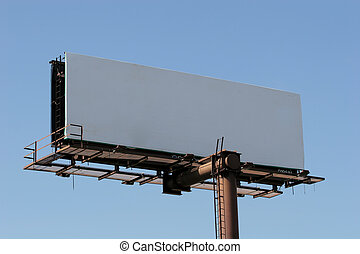 Blank Billboard - A blank billboard against blue sky useful...