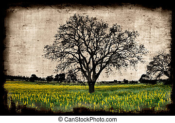 Aged paper background with a tree landscape
