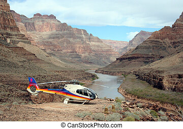 Chopper - A helicopter at rest in the grand canyon