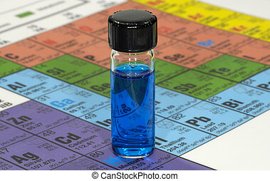 Chemical - Photo of a Glass Chemical Bottle With Blue Liquid...