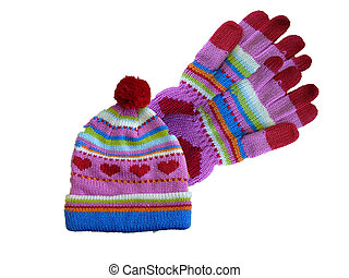 Child\\\'s Hat and Gloves - Little girl\\\'s hat and gloves...
