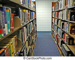 Library Stacks - Bookshelves of books in the library