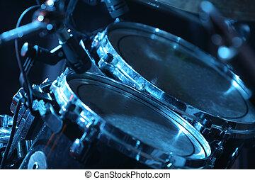 tambor, jogo, iluminado, azul